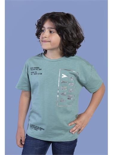 Toontoy Kids Toontoy Erkek Çocuk Düşük Kol Varak Baskılı Tişört Yeşil